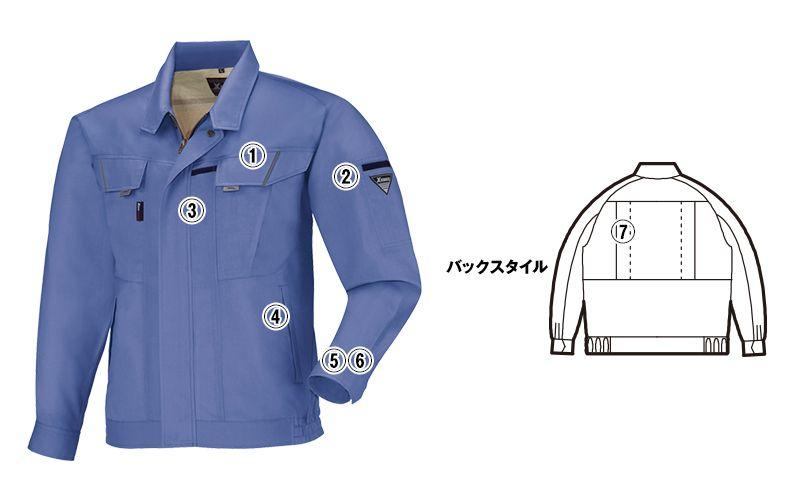 ジーベック 7564 [春夏用]サワークロスプリーツロン長袖ブルゾン(JIS T8118適合) 商品詳細・こだわりPOINT