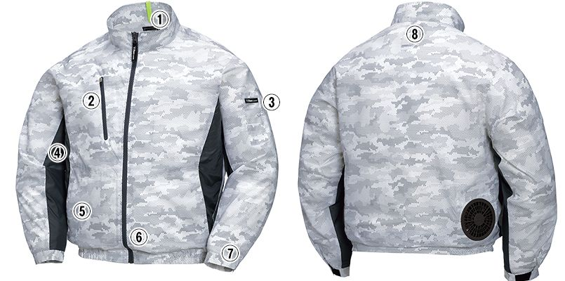 ジーベック XE98005 [春夏用]空調服 迷彩長袖ブルゾン ポリ100% 商品詳細・こだわりPOINT