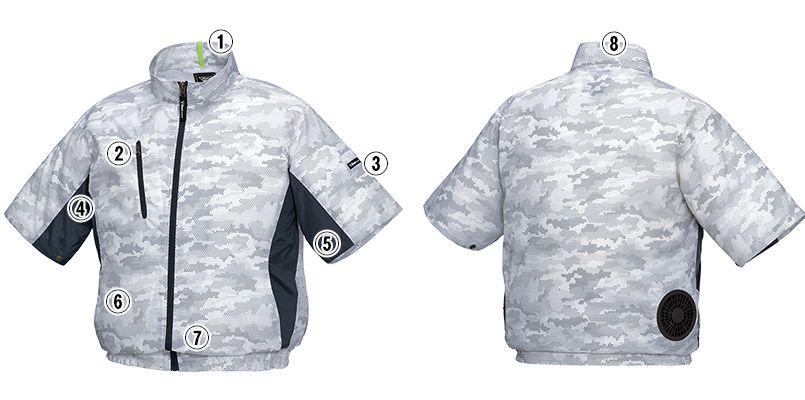 ジーベック XE98006 [春夏用]空調服 迷彩半袖ブルゾン ポリ100% 商品詳細・こだわりPOINT