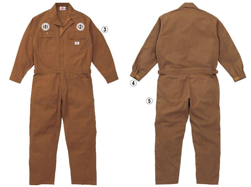 21-702 ディッキーズ 綿100%長袖ツナギ 商品詳細・こだわりPOINT