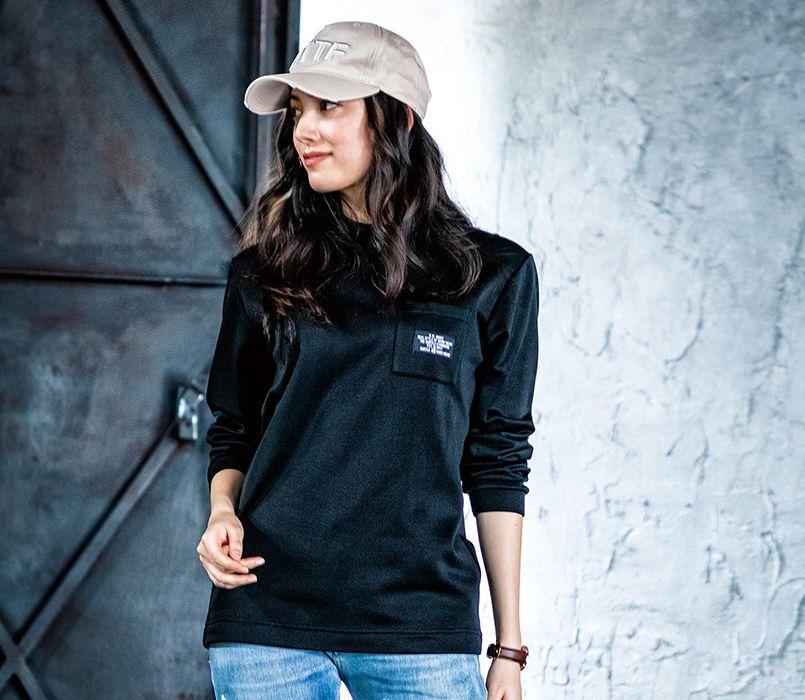 バートル バートル 4060 ストレッチロングTシャツ(男女兼用) 11-4060 ロングTシャツ(ユニセックス) モデル着用雰囲気1