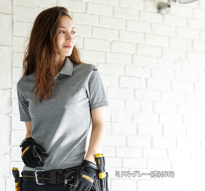 バートル バートル 507 カノコ半袖ポロシャツ(男女兼用)[左袖ポケット付] 11-507 半袖ポロシャツ モデル着用雰囲気1