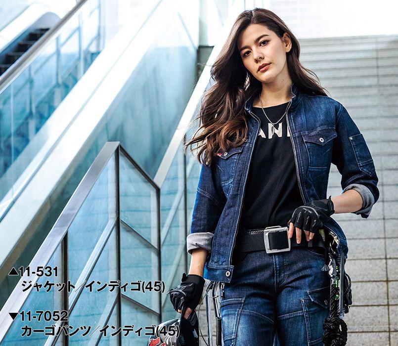 バートル バートル 531 ストレッチデニムジャケット(男女兼用) 11-531 ストレッチデニムジャケット モデル着用雰囲気1