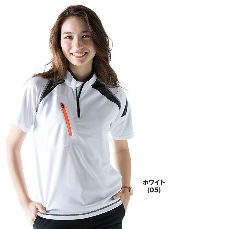 TS DESIGN(藤和) TS DESIGN 5015 [春夏用]FLASH ハーフジップ ドライポロシャツ(男女兼用) 14-5015 FLASH ショートスリーブハーフジップ モデル着用雰囲気1