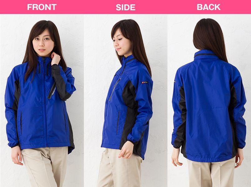 アイトス AZ10301 タルテックス フードインジャケット(薄地素材)(男女兼用) モデル前後(レディース)