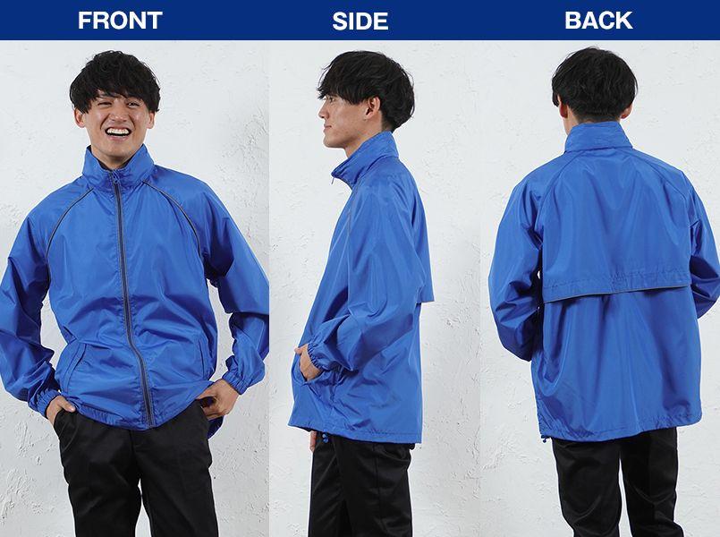 AZ2202 アイトス リフレクトジャケット(男女兼用) モデル前後(メンズ)