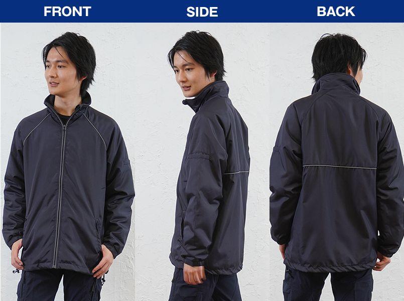 アイトス AZ2203 リフレクト裏フリースジャケット(男女兼用) モデル前後(メンズ)