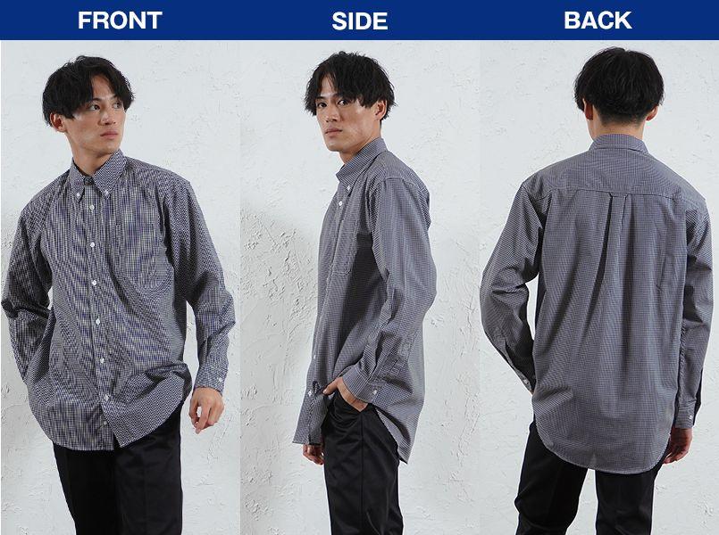 AZ7824 アイトス カナディアンクリーク 長袖T/Cギンガムチェックシャツ(男女兼用) モデル前後(メンズ)