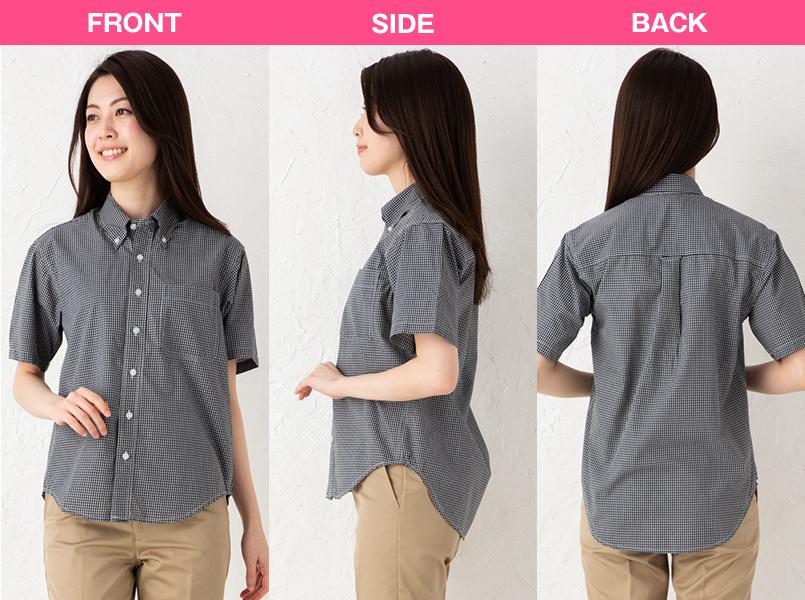 AZ7825 アイトス カナディアンクリーク 半袖T/Cギンガムチェックシャツ(男女兼用) モデル前後(レディース)