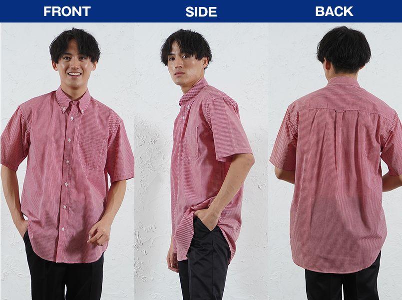 AZ7825 アイトス カナディアンクリーク 半袖T/Cギンガムチェックシャツ(男女兼用) モデル前後(メンズ)