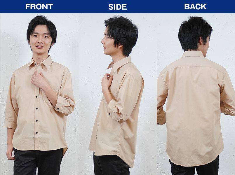 AZ8022 アイトス 七分袖ブロードシャツ(男女兼用) モデル前後(メンズ)