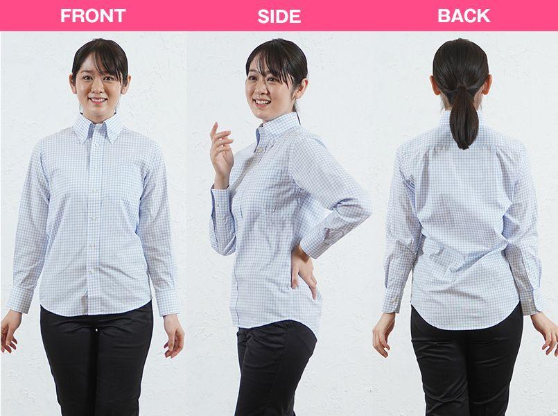 FB4506U FACEMIX グラフチェックシャツ/長袖(男女兼用)ボタンダウン モデル前後(レディース)