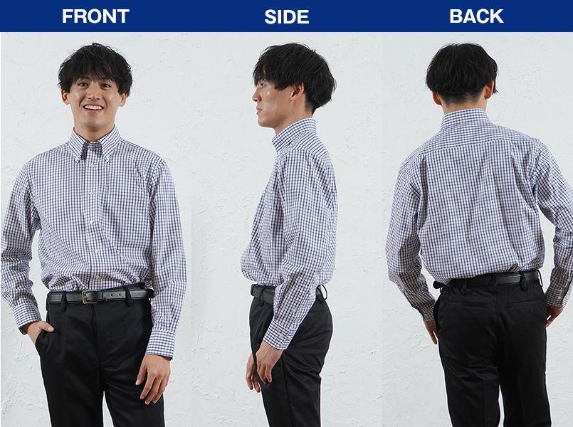 FB4506U FACEMIX グラフチェックシャツ/長袖(男女兼用)ボタンダウン モデル前後(メンズ)