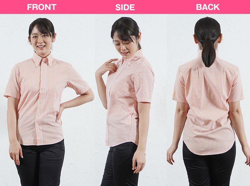 FB4507U FACEMIX グラフチェックシャツ/半袖(男女兼用)ボタンダウン モデル前後(レディース)