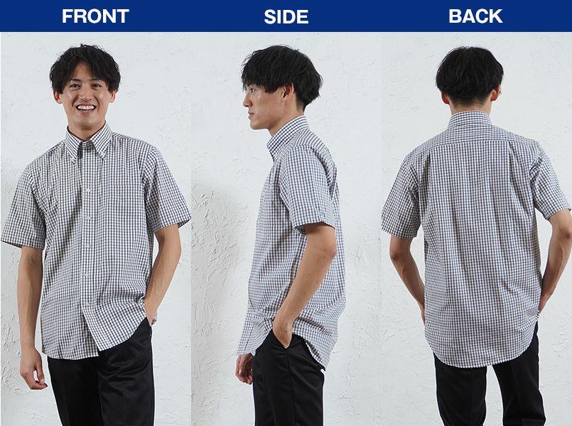 FB4507U FACEMIX グラフチェックシャツ/半袖(男女兼用)ボタンダウン モデル前後(メンズ)