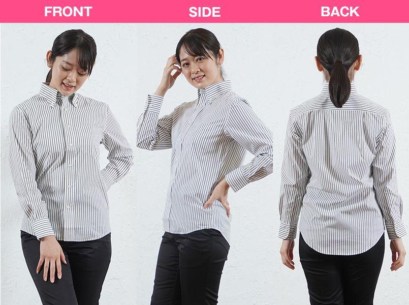 FB4508U FACEMIX ストライプシャツ/長袖(男女兼用)ボタンダウン モデル前後(レディース)