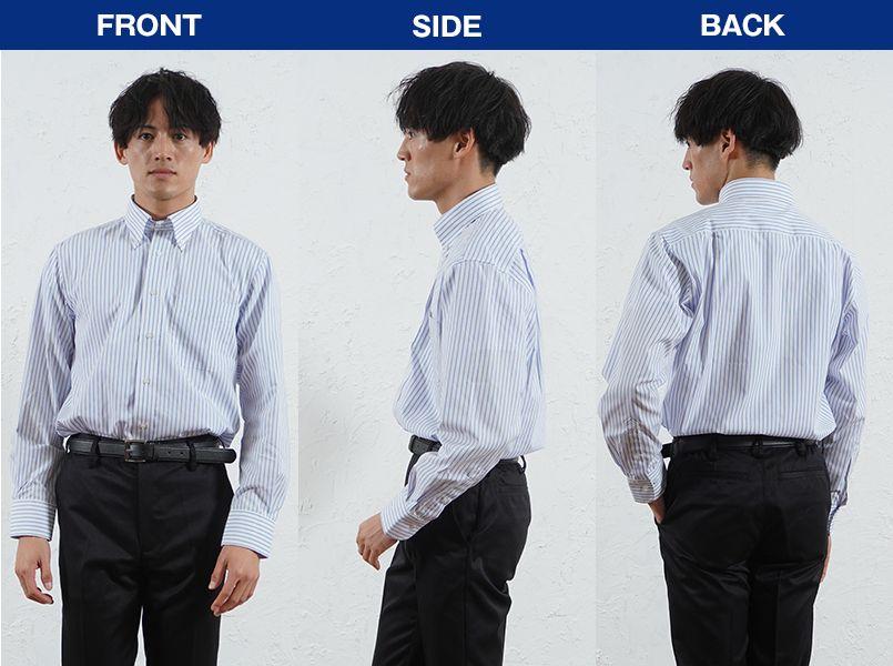 FB4508U FACEMIX ストライプシャツ/長袖(男女兼用)ボタンダウン モデル前後(メンズ)