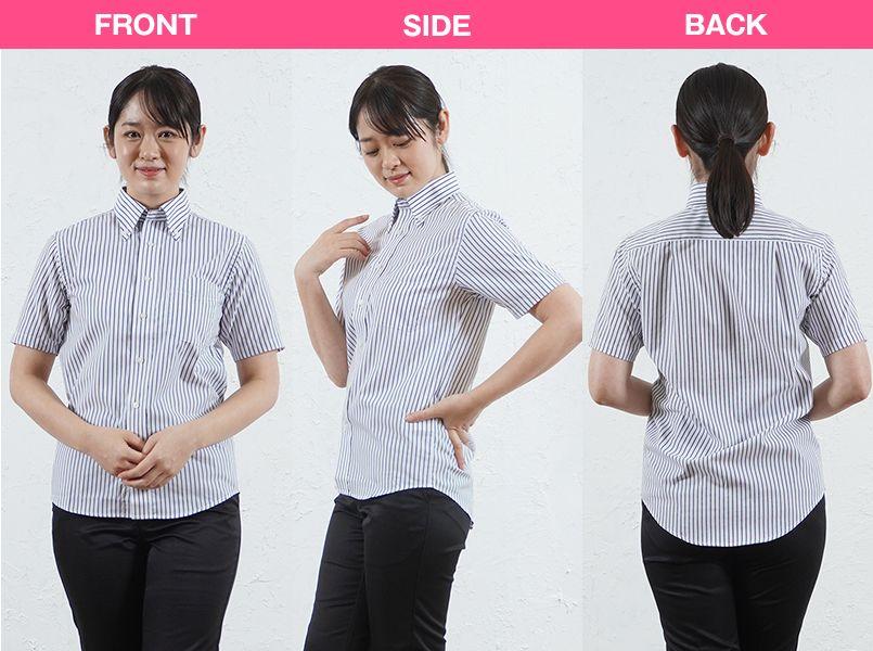 FB4509U FACEMIX ストライプシャツ/半袖(男女兼用)ボタンダウン モデル前後(レディース)