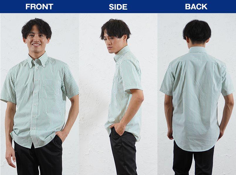 FB4509U FACEMIX ストライプシャツ/半袖(男女兼用)ボタンダウン モデル前後(メンズ)