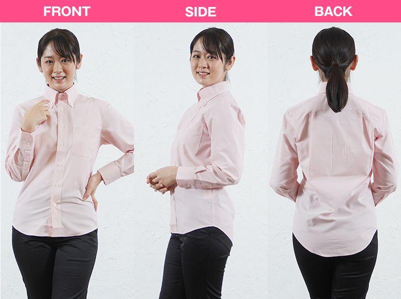FB4510U FACEMIX オックスシャツ/長袖(男女兼用)無地ボタンダウン モデル前後(レディース)