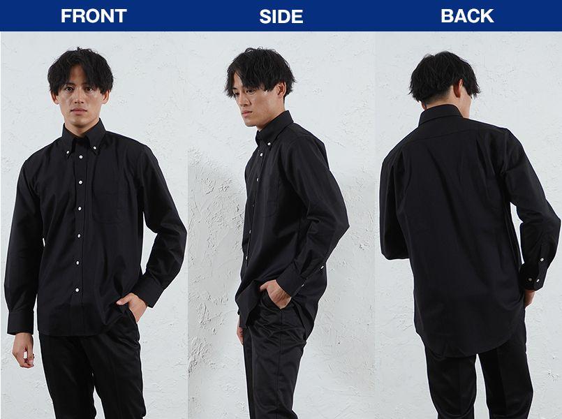 FB4510U FACEMIX オックスシャツ/長袖(男女兼用)無地ボタンダウン モデル前後(メンズ)