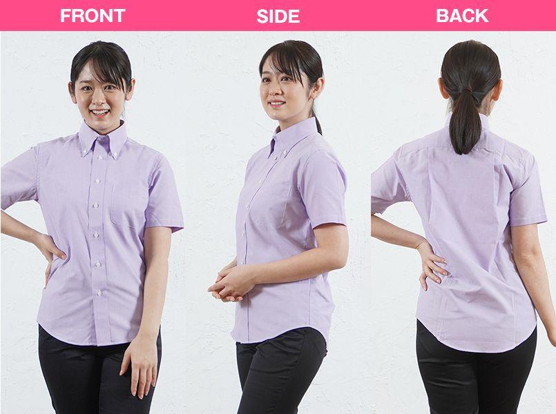 FB4511U FACEMIX オックスシャツ/半袖(男女兼用)無地ボタンダウン モデル前後(レディース)