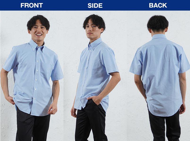 FB4511U FACEMIX オックスシャツ/半袖(男女兼用)無地ボタンダウン モデル前後(メンズ)