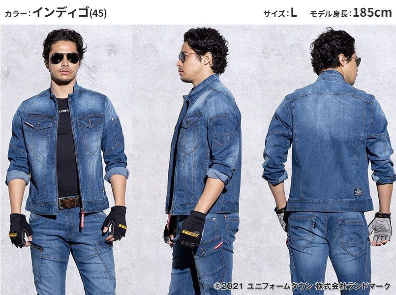 バートル 5001 [秋冬用]ストレッチデニムジャケット(男女兼用) モデル前後(メンズ)