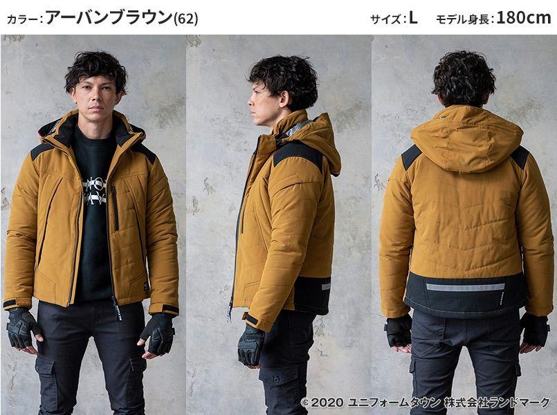 バートル 5270 [秋冬用]防寒ジャケット(大型フード付き) サーモクラフト対応(男女兼用) モデル前後(メンズ)