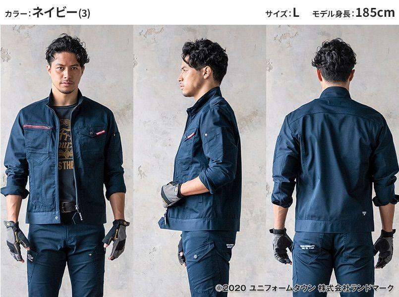 バートル 661 [秋冬用]T/Cストレッチツイルジャケット(男女兼用) モデル前後(メンズ)