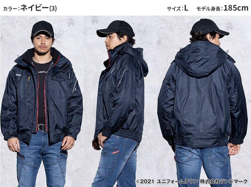 バートル 7210 [秋冬用]サーモトロン防寒ブルゾン(大型フード付)(男女兼用) モデル前後(メンズ)
