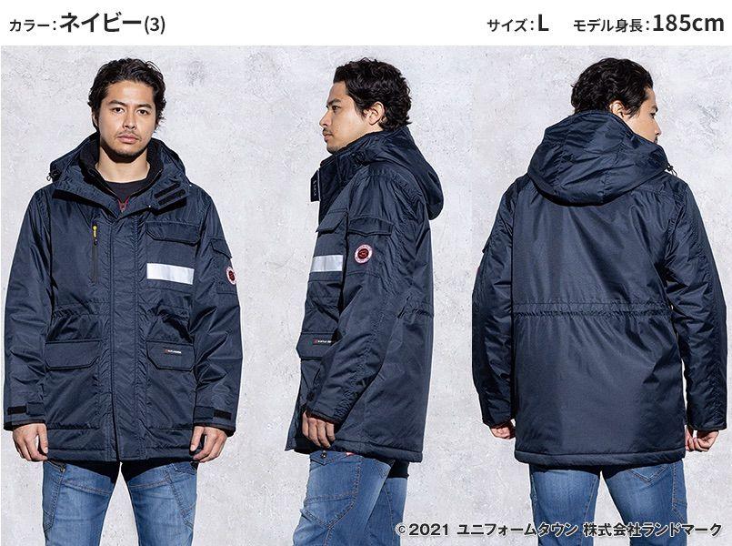 バートル 7211 [秋冬用]サーモトロン防寒コート(大型フード付)(男女兼用) モデル前後(メンズ)