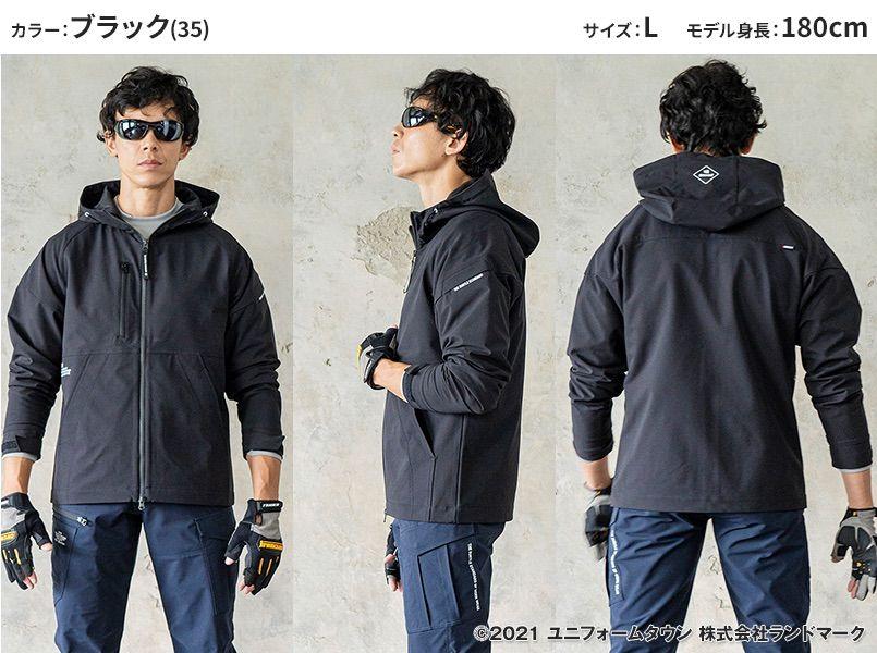 バートル 9505 [秋冬用]4WAYストレッチ パーカージャケット(JIS T8118適合)(男女兼用) モデル前後(レディース)