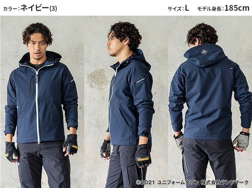 バートル 9505 [秋冬用]4WAYストレッチ パーカージャケット(JIS T8118適合)(男女兼用) モデル前後(メンズ)