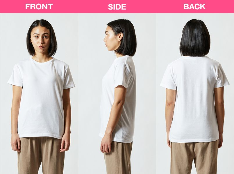 定番Tシャツ(5.6オンス)(男女兼用) モデル前後(レディース)
