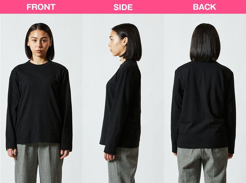 ロングスリーブTシャツ(5.6オンス)(男女兼用) モデル前後(レディース)