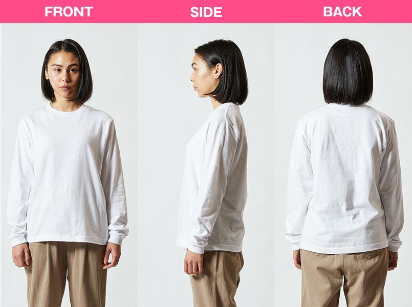長袖Tシャツ(5.6オンス)(男女兼用) モデル前後(レディース)