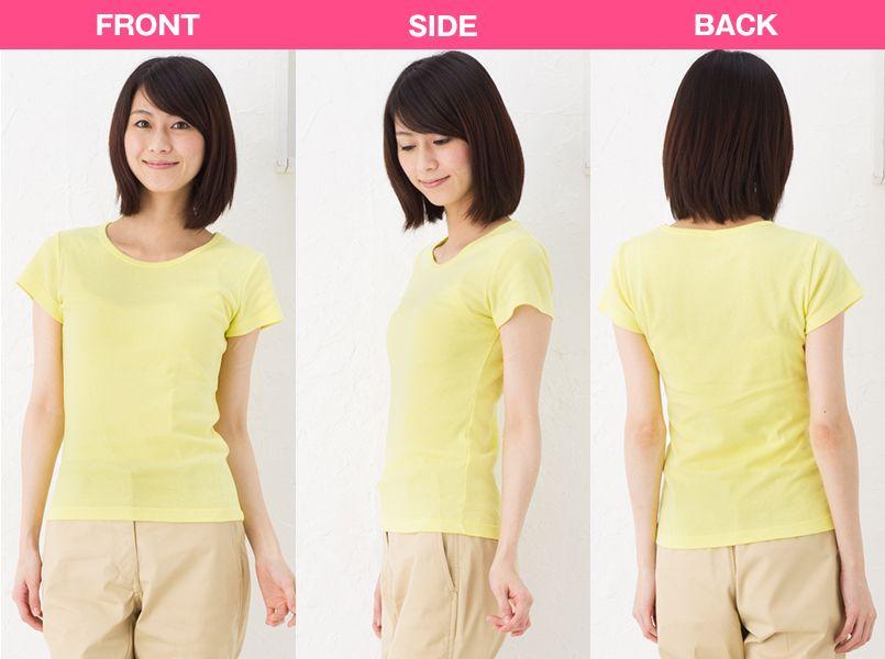CVCフライスTシャツ(ガールズ)(6.2オンス)(女性用) モデル前後(レディース)