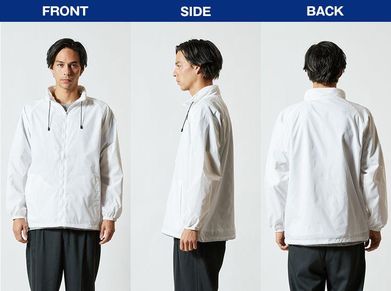 ナイロン スタンドジャケット(フードイン)(ライニング付)(男女兼用) モデル前後(メンズ)
