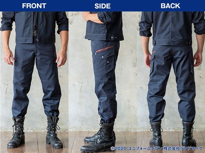 自重堂 52102 [秋冬用]JAWIN ノータックカーゴパンツ(新庄モデル) 裾上げNG モデル前後(メンズ)