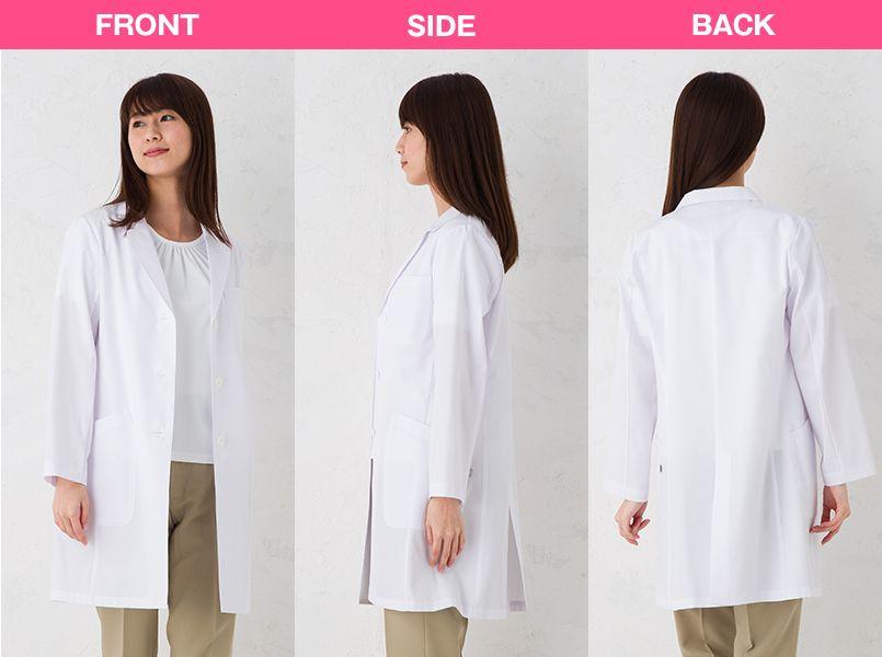 KEX5190 ナガイレーベン(nagaileben) ケックスター シングル診察衣(女性用) モデル前後(レディース)