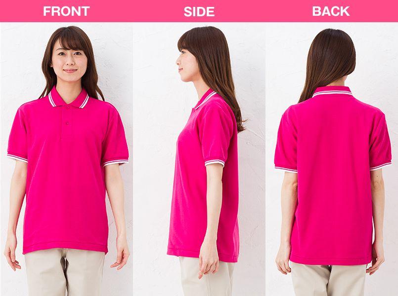 [在庫限り]00191-BLP ベーシックラインポロシャツ(5.8オンス)(男女兼用) モデル前後(レディース)
