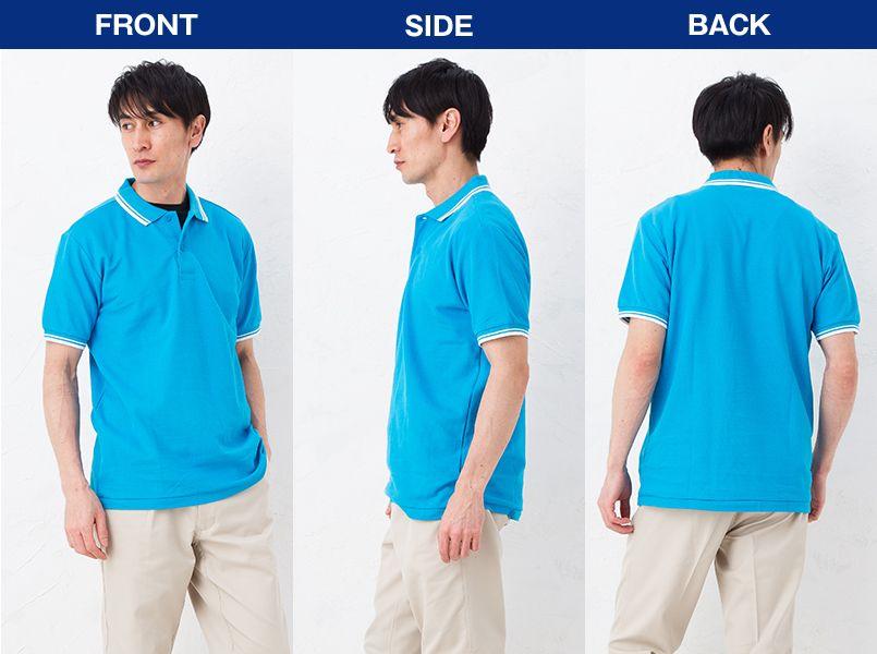 [在庫限り]00191-BLP ベーシックラインポロシャツ(5.8オンス)(男女兼用) モデル前後(メンズ)