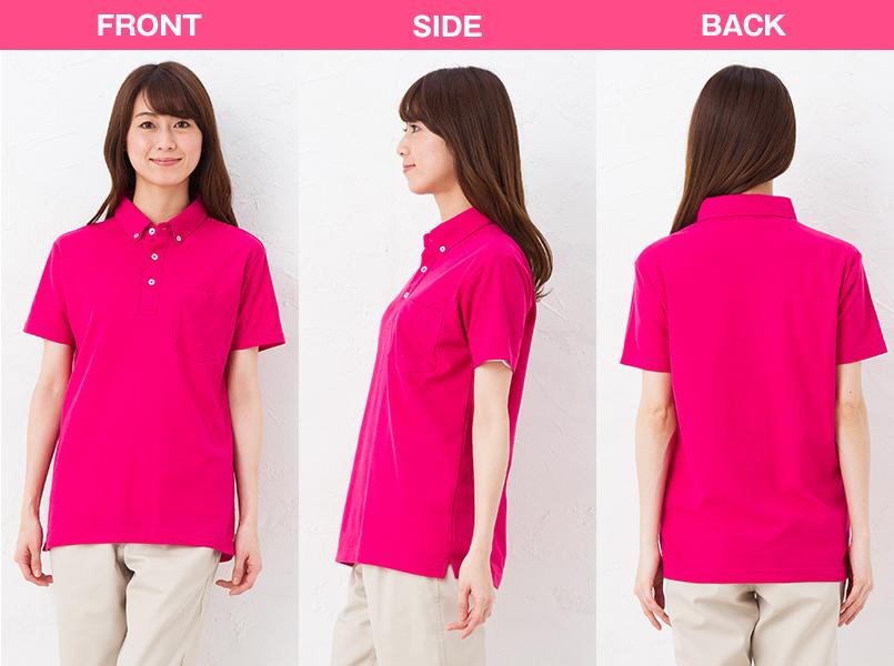 00198-BDQ 4.9オンス ボタンダウンポロシャツ(ポケット付) モデル前後(レディース)