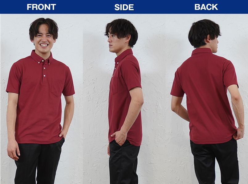 00198-BDQ 4.9オンス ボタンダウンポロシャツ(ポケット付) モデル前後(メンズ)
