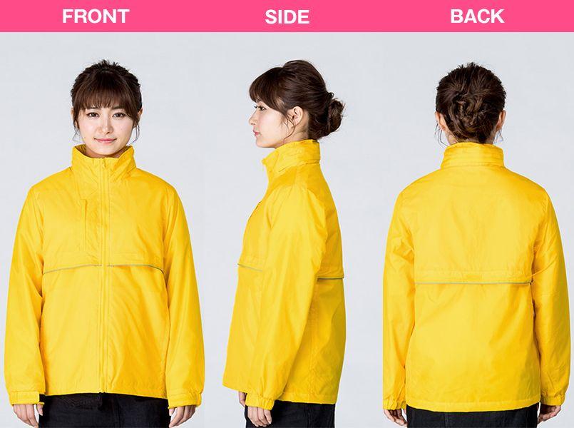 00233-RBC 軽防寒 リフレクベーシックコート 中綿(男女兼用) モデル前後(レディース)