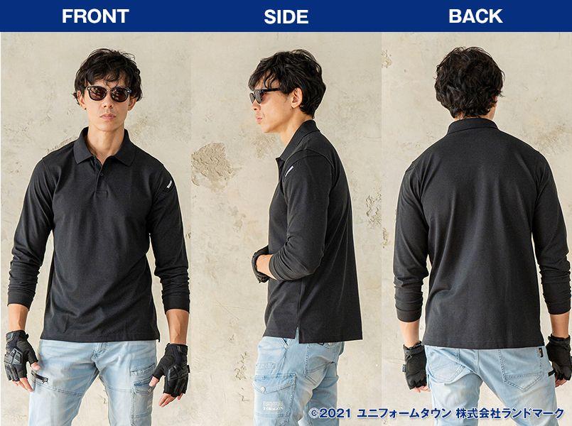 TS DESIGN 4075 ESロングスリーブポロシャツ(男女兼用) モデル前後(レディース)