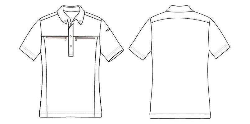 AZ10602 アイトス ボタンダウンダブルジップ半袖ポロシャツ(男女兼用) ハンガーイラスト・線画