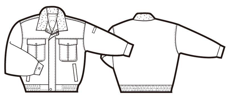 AZ10757 アイトス ドカジャン 防寒ブルゾン 襟ボア ハンガーイラスト・線画