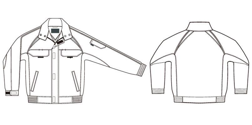 アイトス AZ1701 エコワーカー・フォレスト 長袖ブルゾン ハンガーイラスト・線画